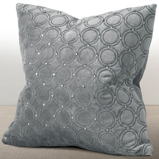 Chauran Meridian Mist Grey Velvet Feather and Down Filled 18-inch Luxury Pillow with Hand-applied Metal Studs