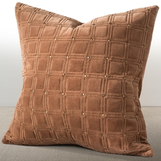 Chauran Meridian Cognac Velvet Feather and Down Filled 20-inch Luxury Pillow with Hand-applied Metal Studs
