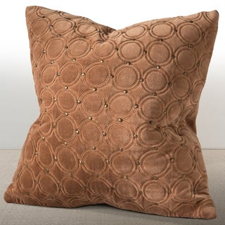 Chauran Meridian Cognac Velvet Feather and Down Filled 18-inch Luxury Pillow with Hand-applied Metal Studs