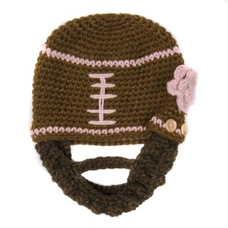 Crummy Bunny Brown and Pink Football Beanie with Removable Beard