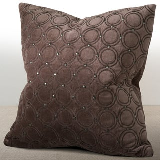 Chauran Meridian Espresso Velvet 18-inch Feather and Down Filled Luxury Pillow with Hand-applied Metal Studs