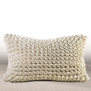Chauran Madrygal Ivory Rosette Luxury Feather and Down Filled Lumbar Pillow