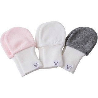 Crummy Bunny Pink, Grey, White Super Soft Cotton Baby Mittens (Pack of 3)