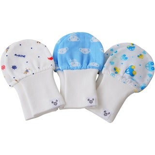Crummy Bunny No Scratch Gauze Baby Boy Blue Mittens (Set of 3) (2 options available)