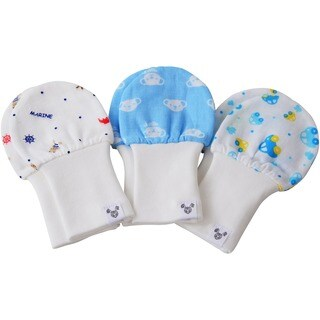 Crummy Bunny No Scratch Gauze Baby Boy Blue Mittens (Set of 3)