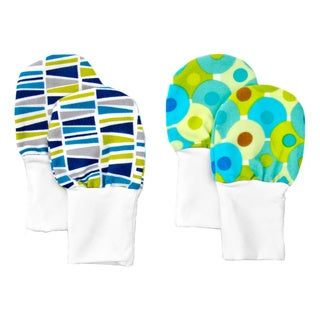 Crummy Bunny No Scratch Stay-on Blue and Green Prints Baby Mittens (Set of 2)