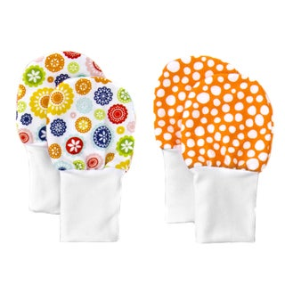 Crummy Bunny No Scratch Stay-on Flowers and Orange Dots Baby Mittens (Set of 2)