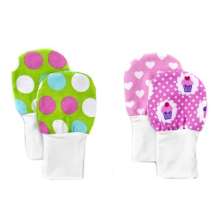 Crummy Bunny No Scratch Stay-on Pink and Green Dots and Cupcakes Baby Mittens (Set of 2)