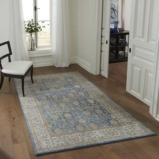 "Brighton Floral Border Machine-Made Rug (9'3""x12'6"")"