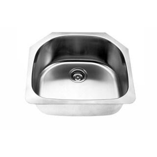 Designer Collection Stainless Steel Single Half-Moon Bowl Kitchen Sink