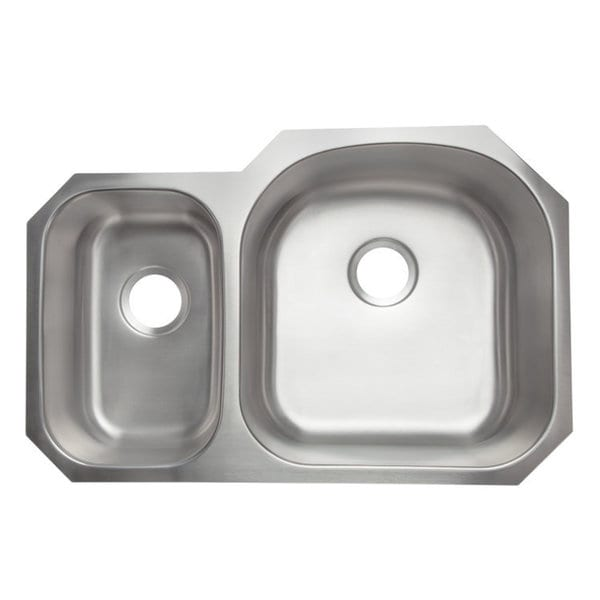 Designer collection stainless steel 30 70 double bowl for Designer stainless steel sinks