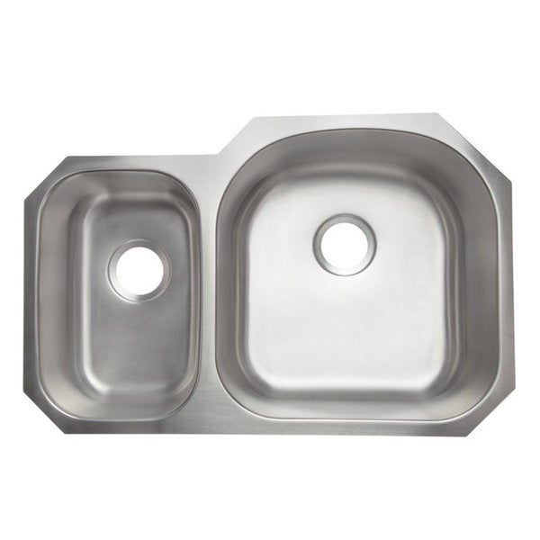 Designer collection stainless steel 30 70 double bowl for Designer kitchen sinks stainless steel