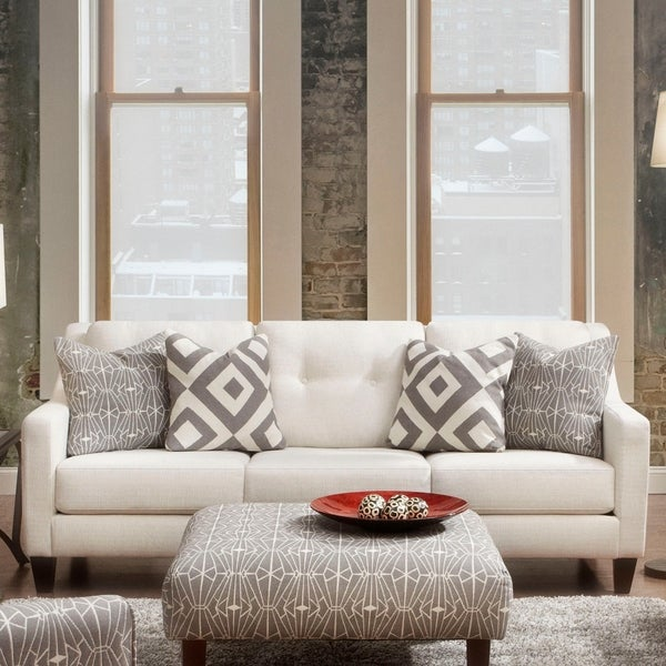 Shop Cara Contemporary Ivory Tufted Sofa by FOA - On Sale - Free ...