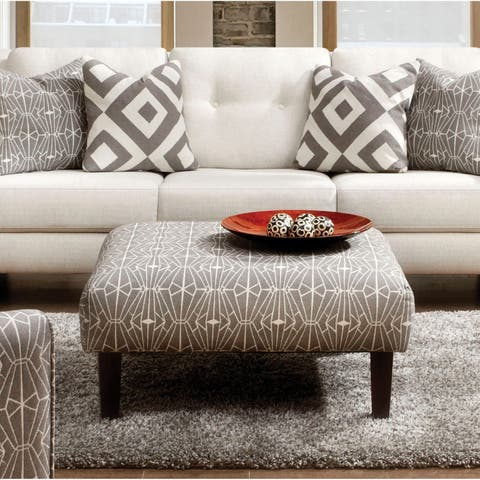 Cara Contemporary Taupe Crystal Patterned Ottoman by FOA
