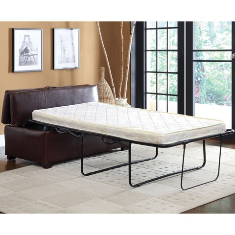 Furniture of America Jenner Brown Leatherette Ottoman with Pull-out Sleeper