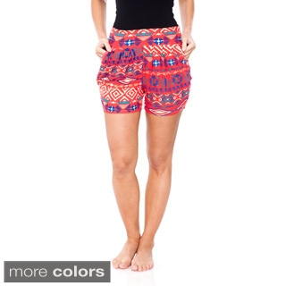 White Mark Women's Printed Harem Elastic Waistband Shorts