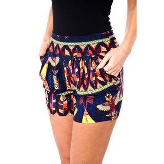 White Mark Women's Printed Harem Elastic Waistband Shorts