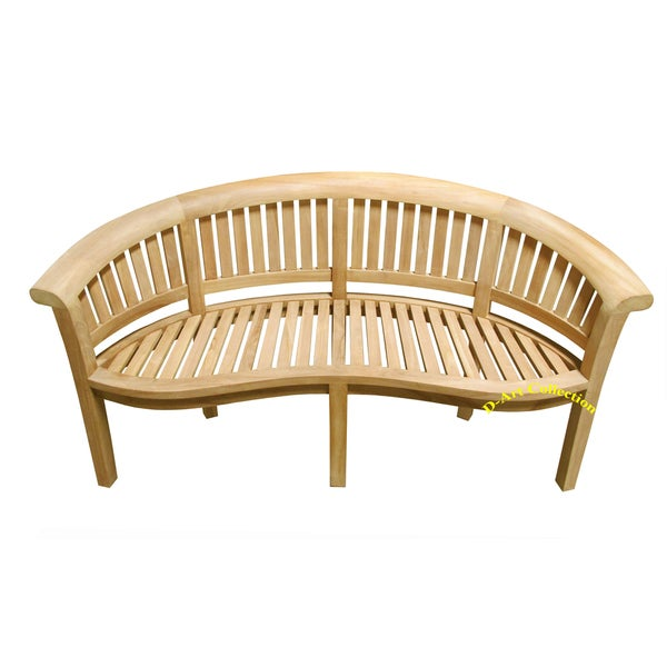 Merveilleux Handmade D Art California Teak Wood Wide Curved Bench (Indonesia)