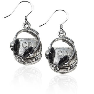 Sterling Silver CD Player and Headphone Charm Earrings