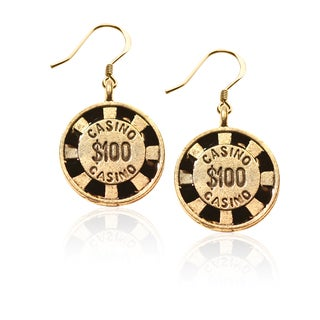 Gold over Silver Casino Chip Charm Earrings