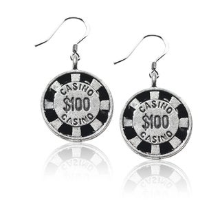 Sterling Silver Casino Chip Charm Earrings