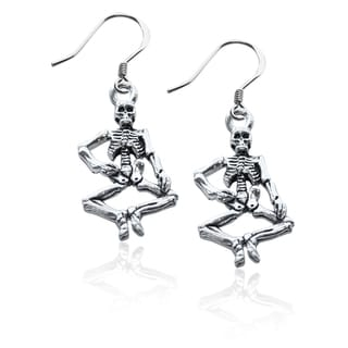 Sterling Silver Skeleton Charm Earrings