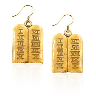 Gold over Silver Ten Commandments Charm Earrings