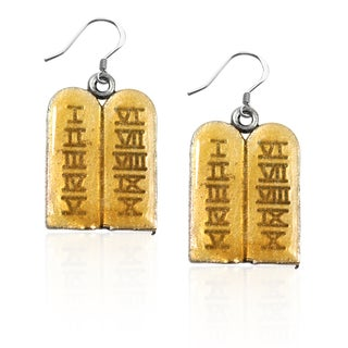 Sterling Silver Ten Commandments Charm Earrings