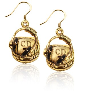 Gold over Silver CD Player and Headphone Charm Earrings