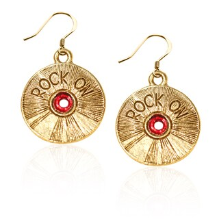 Gold over Silver Rock on CD Charm Earrings