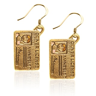 Gold over Silver Driver's License Charm Earrings