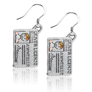 Sterling Silver Driver's License Charm Earrings