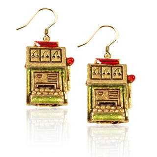 Gold over Silver Slot Machine Charm Earrings
