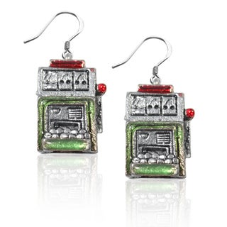 Sterling Silver Slot Machine Charm Earrings