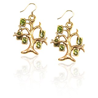 Gold over Silver Money Tree Charm Earrings