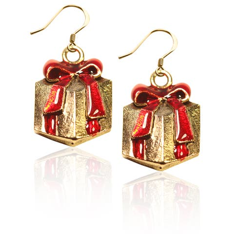 Gold over Silver Christmas Present Charm Earrings