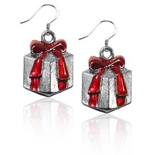 Sterling Silver Christmas Present Charm Earrings