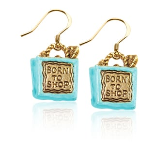 Gold over Silver Born to Shop Bag Charm Earrings