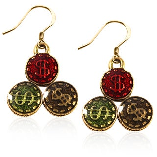 Gold over Silver Casino Chips Charm Earrings
