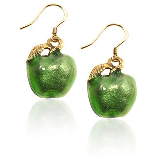 Gold over Silver Green Apple Charm Earrings