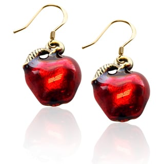 Gold over Silver Red Apple Charm Earrings