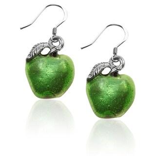 Sterling Silver Green Apple Charm Earrings