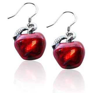 Sterling Silver Red Apple Charm Earrings
