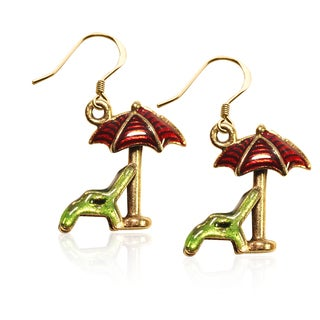 Gold over Silver Beach Chair and Umbrella Charm Earrings