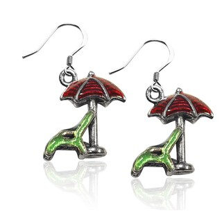 Sterling Silver Beach Chair and Umbrella Charm Earrings