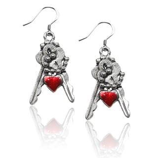 Sterling Silver Keys with Heart Charm Earrings