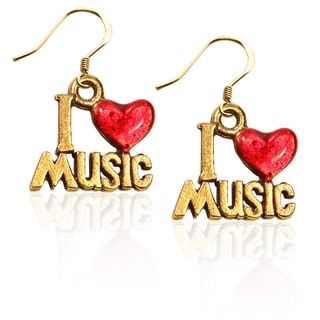Gold over Silver I Love Music Charm Earrings