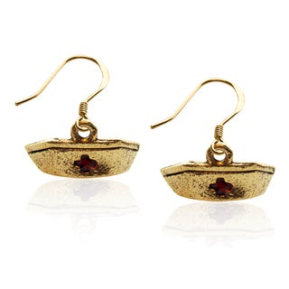 Gold over Silver Nurse's Hat Charm Earrings