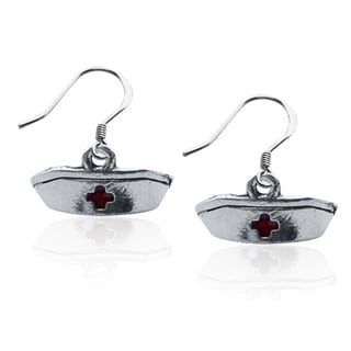 Sterling Silver Nurse's Hat Charm Earrings