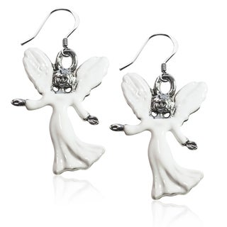 Sterling Silver Angel Charm Earrings